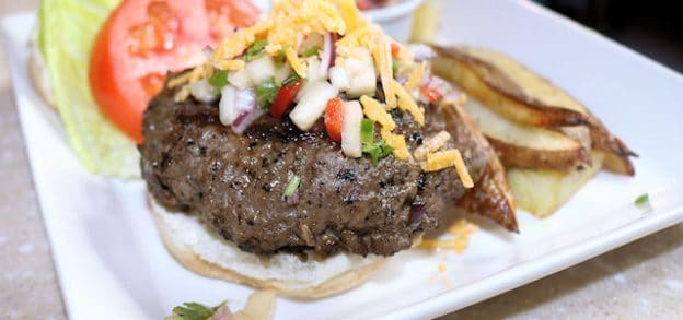 Jerk Beefburger with Pineapple Salsa